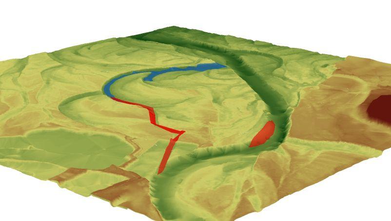 Ain - Restauration de la dynamique fluviale : vue 3D de projet de restauration
