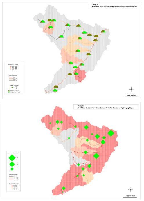 Cartographie de synthèse de la fourniture sédimentaire