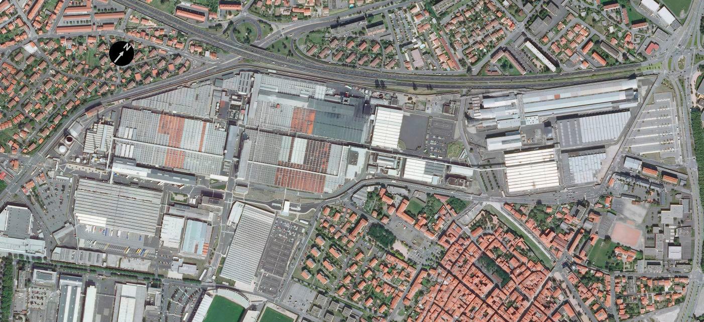 Othophoto du site industriel Michelin (Carmes Cataroux) à Clermont-Ferrand