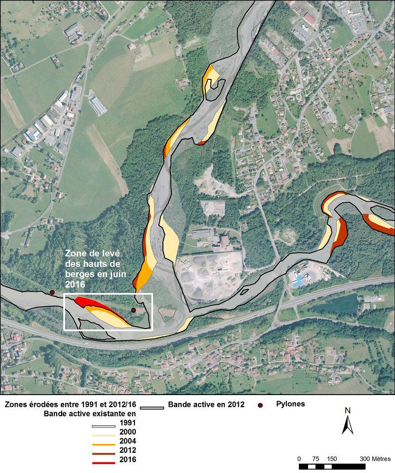 Vue aérienne de la confluence entre le Griffre et l'Arve, avec des surcouches d'informations géoréférencées en vue de la rédaction de l'étude de risque