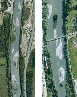 ISERE - Injection : vues aériennes des bancs de cailloux