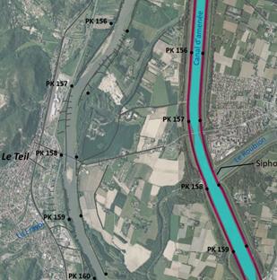 Vue aérienne des îles du Rhône entre Drôme et Ardèche, Montélimar et le Teil pour une maîtrise d'œuvre de restauration écologique des marges alluviales