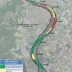 Carte du risque d'engagement du chenal navigable dans le cadre de l'analyse géomorphologique de l'évolution bathymétrique du Rhône pour la Compagnie Nationale du Rhône CNR