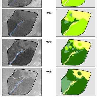 RIAILLES - Restauration : cartes du réseau hydropgrahique et de l'occupation du sol du terrain d'étude entre 1950 et 1978