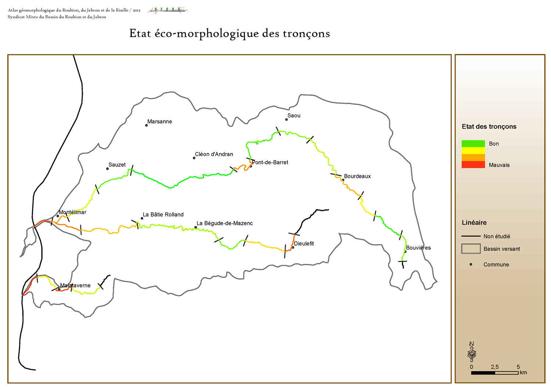 Cartographie SIG sous ArcGis de l'état écomorphologique du bassin versant du Roubion