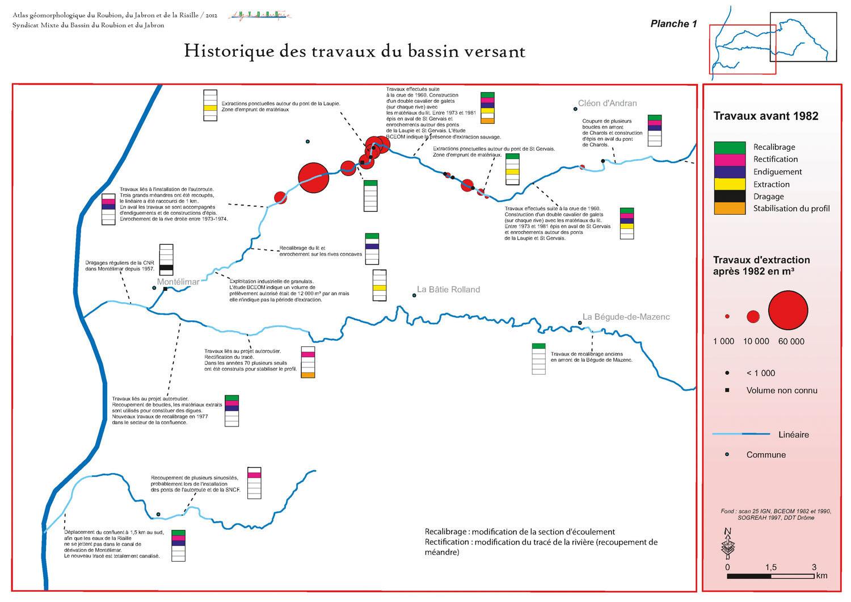 Cartographie SIG sous ArcGis de l'historique des travaux et aménagement réalisés sur le bassin versant du Roubion