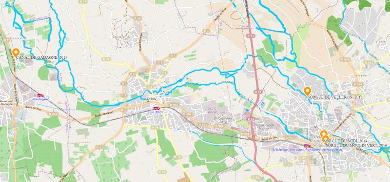 Plan du système hydrauliques complexe des Sorgues et ses canaux