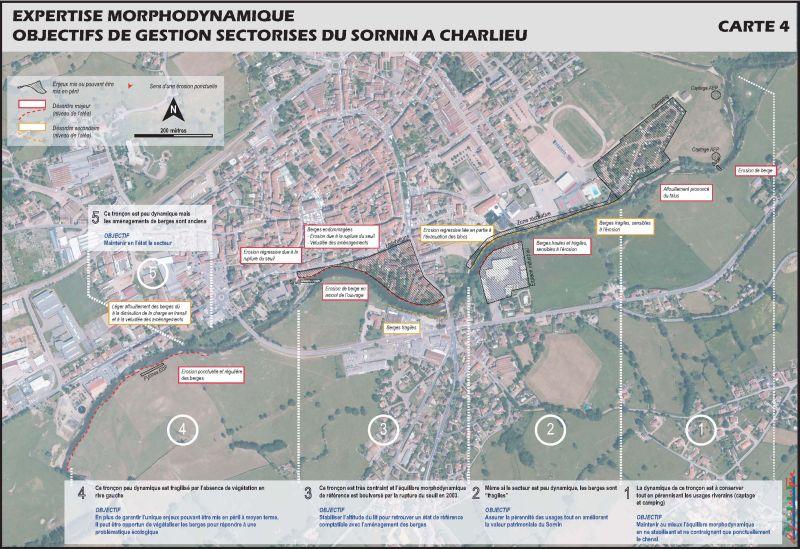 Cartographie : objectifs de gestion sectorisés du Sornin à Charlieu