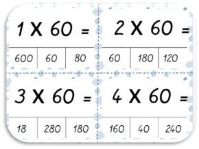 carte à tache pour utiliser les tables de multiplication