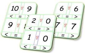 Ateliers plus petit et plus grand en atelier cartes comparer des nombres