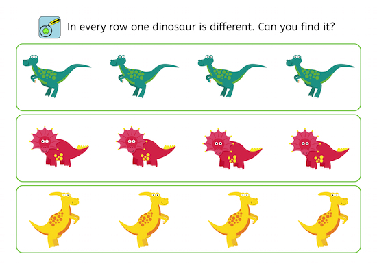 Dinosaur, perception training, children, freebie, no prep printable, parents, school, teacher, dyslexia, dyscalculia, AFS-method
