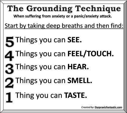 Grounding Technique for anxiety, stress, and panic/anxiety attacks