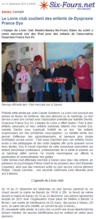 article Six-Fours.net 13-12-2012