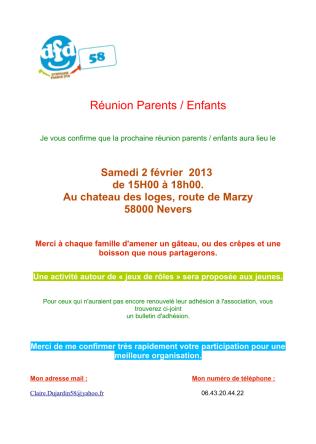 Réunion de parents le 2 février 2013
