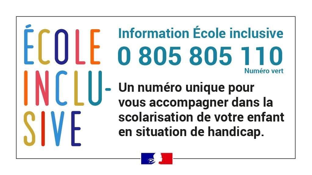 Ecole inclusive : numéro d'appel unique