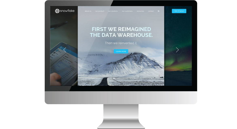 snowflake homepage on desktop