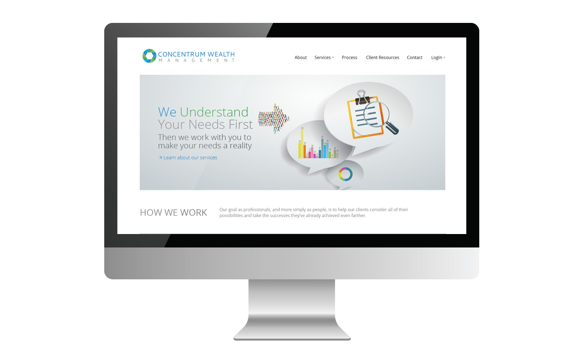 concentrum wealth management homepage on monitor