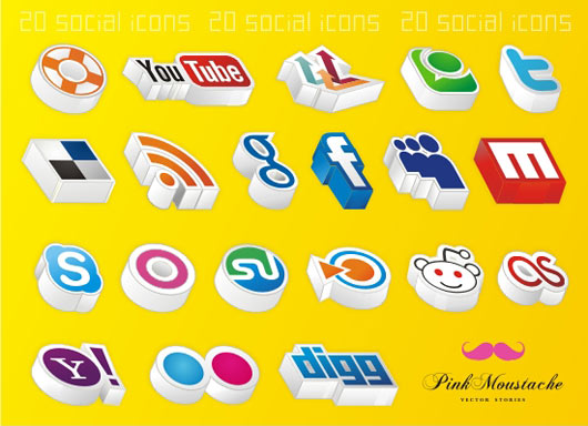 20-Amazing-3D-social-icons!