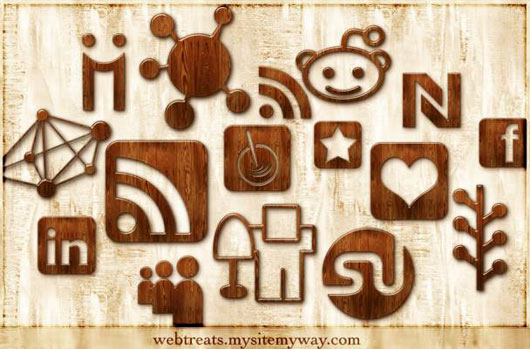 Glossy-Waxed-Wood-Social-Networking-Icons