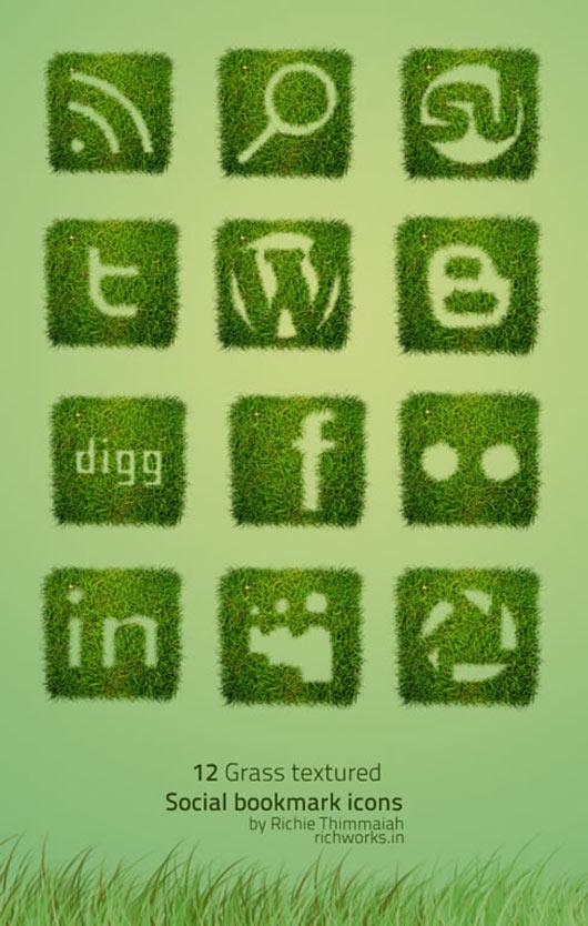 Grass-Textured-Social-Bookmarking-Icon-Set