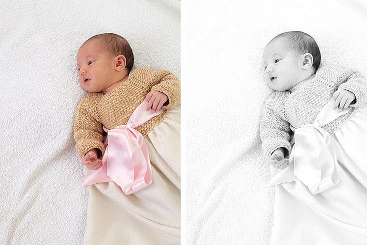 Conversión a BN de foto de recién nacida