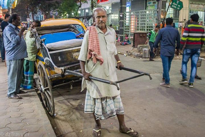 Traditional Rickshaw Puller in Kolkata - Sudder Street Area.
