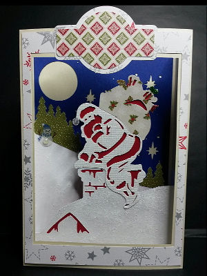 Santa Paperscape Box Card, version 2