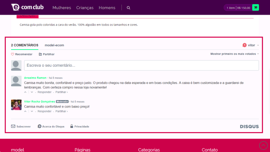 plugin comentários do produto