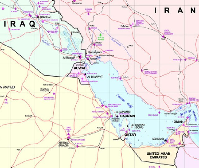 A Map Showing Iraq Kuwait Saudi Arabia And The Uae As Well As Their