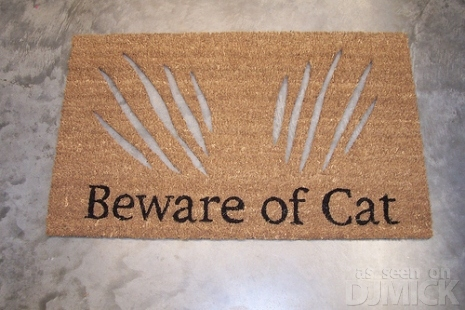 beware of cat-doormat