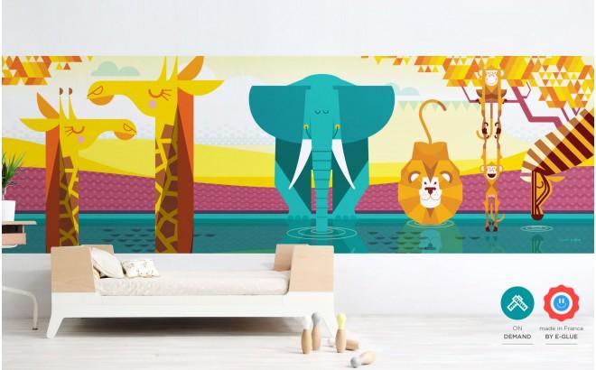 papier peint enfant panoramique savane