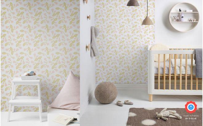 papier peint floral pour chambre bebe ou fille pastel