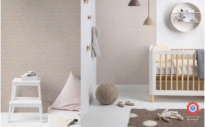 papier peint graphique chambre fille rose