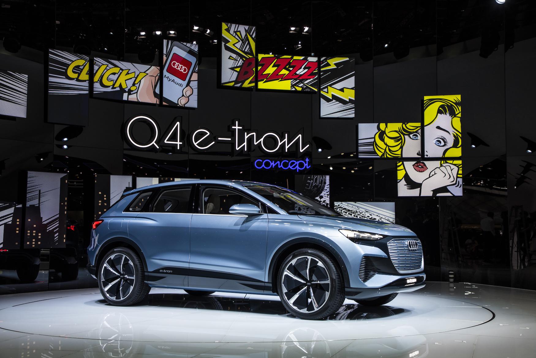Il debutto della Q4 e-tron concept al Salone dell'automobile di Ginevra di questa primavera. (AUDI)
