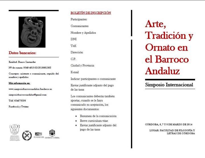 Simposio Internacional Arte, Tradición y Ornato en el Barroco Andaluz.
