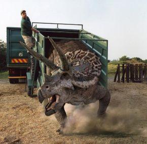 Montaje digital de la liberación de un triceratops