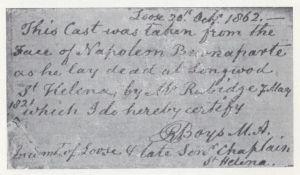 """Nota manuscrita por el reverendo Boys que acompaña a la máscara denominada """"Sankey""""."""