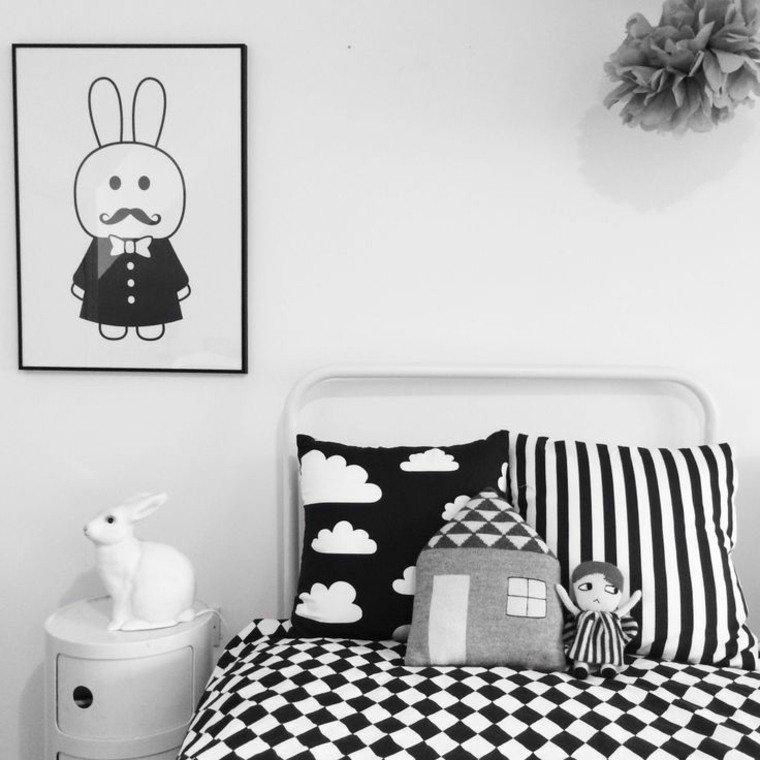 la chambre enfant deco noir et blanc