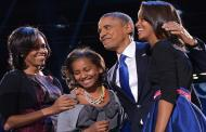 Obama tears up during tribute to Michelle, daughters