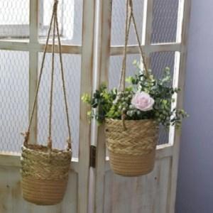 rope hanging planter beige 2