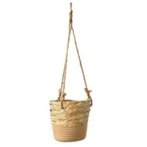 rope hanging planter beige