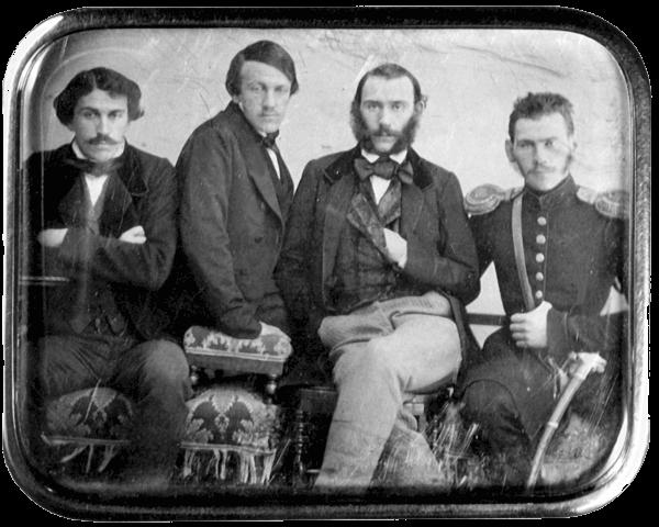 Братья Толстые (слева направо): Сергей, Николай, Дмитрий, Лев, 1854 год. Москва. Дагерротип