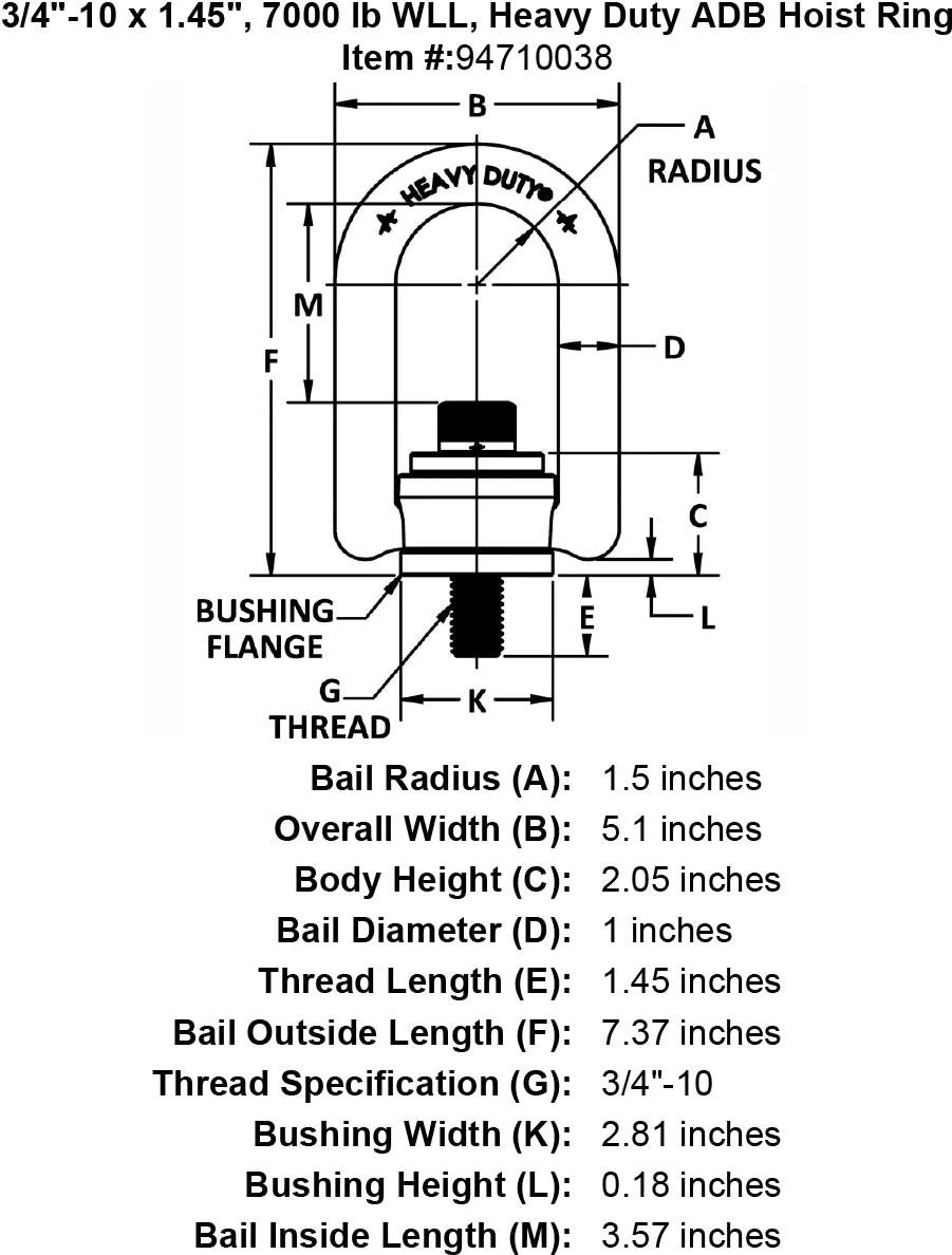 3 4 10 X 1 45 Lb Wll Heavy Duty Adb Hoist Ring