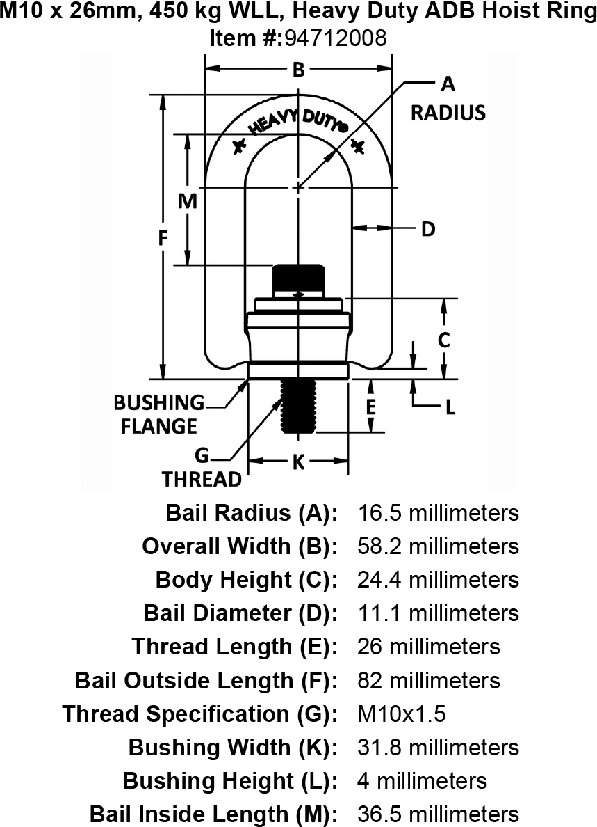 M10 X 26mm 450 Kg Wll Heavy Duty Adb Hoist Ring
