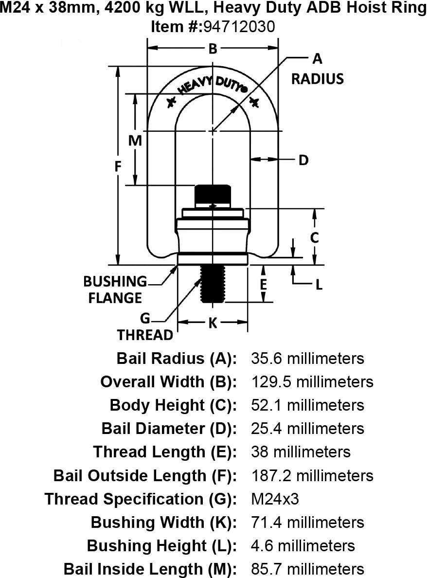 M24 X 38mm Kg Wll Heavy Duty Adb Hoist Ring