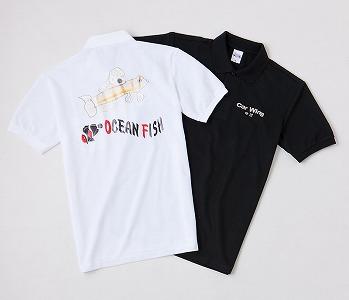 白ポロシャツの背中へフルカラー転写プリント 黒ポロシャツの胸へシルバー(銀糸)刺繍