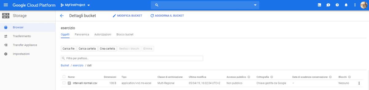 Caricare dati da Cloud Storage su Google BigQuery - e-Service