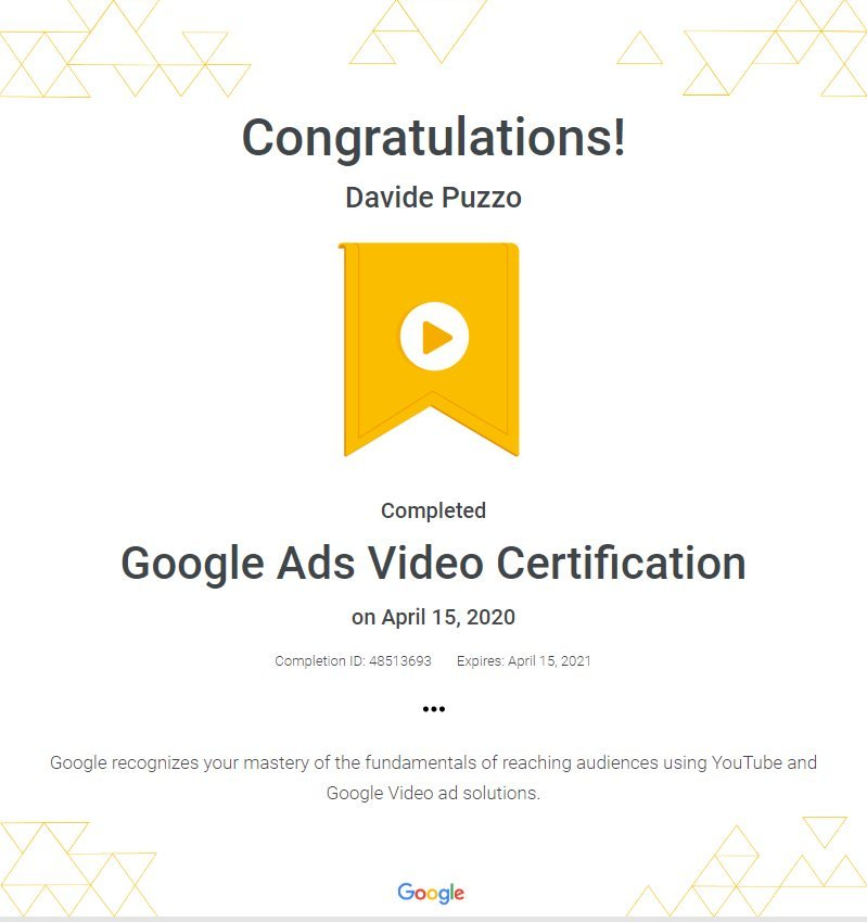 Google Ads Video Certification - Davide Puzzo