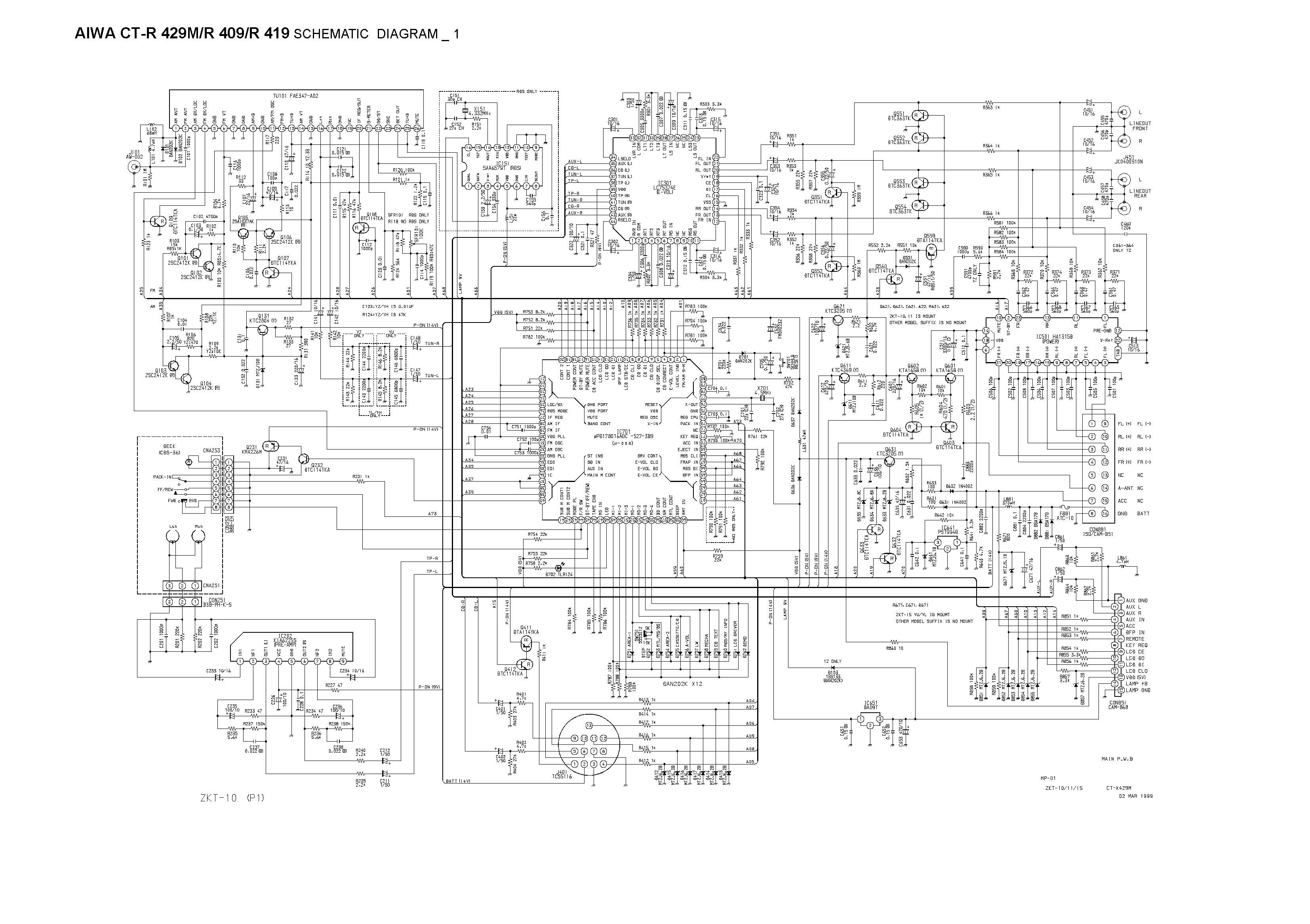 Aiwa Ct R 429 M Schematic Diagram Main Front In