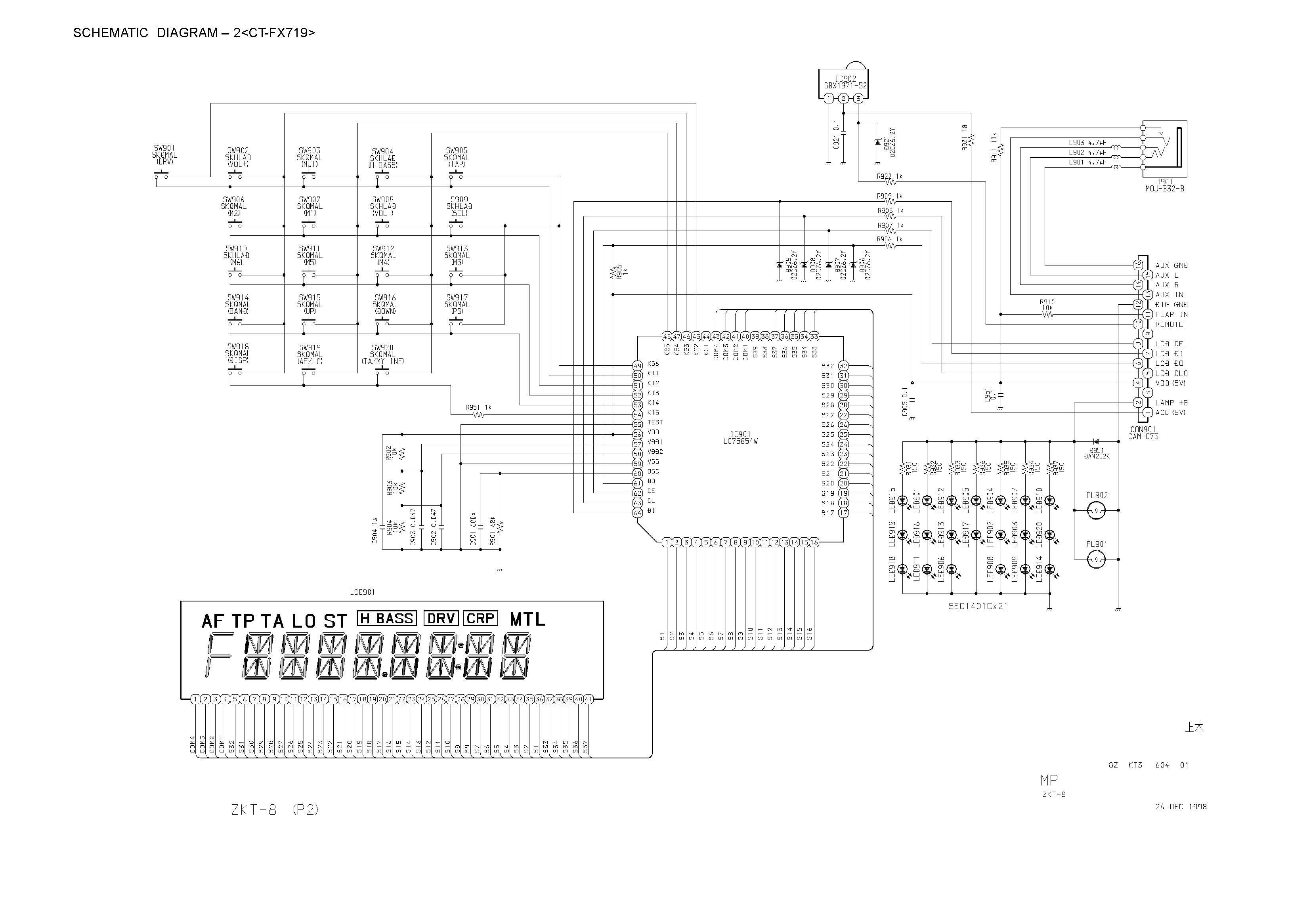 Aiwa Ct Fx719 Schematic Diagram Main Front In